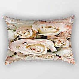 Delicate Peach Roses Rectangular Pillow
