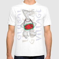 Global Village White Mens Fitted Tee MEDIUM