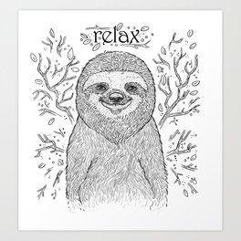 Happy and Lazy Sloth Drawing Design with Relax Text Art Print
