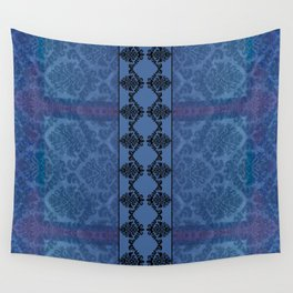 AGED PARCHMENT DAMASK, CUT VELVET in BLUE Wall Tapestry