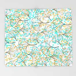 grid in yellow and blue and petals Throw Blanket