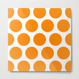 Large Polka Dots: Orange Metal Print