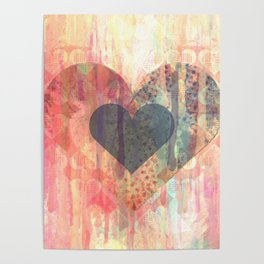 Vintage overlay heart Abstract Poster