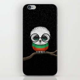 Baby Owl with Glasses and Bulgarian Flag iPhone Skin