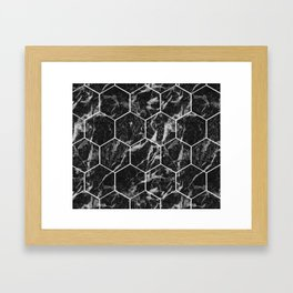 Black Campari marble - hexagons Framed Art Print