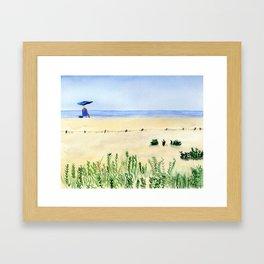 Assateague Island Watercolor Beach Painting Framed Art Print