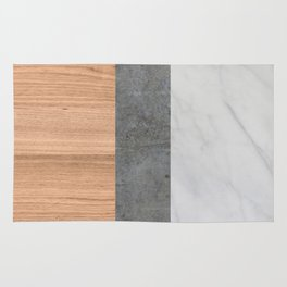 Carrara Marble, Concrete, and Teak Wood Abstract Rug