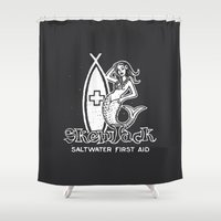 salt water Shower Curtains featuring Salt Water First Aid by SKEWJACK