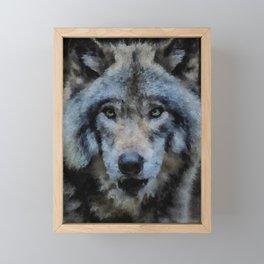Wolf watercolor painting #1 Framed Mini Art Print