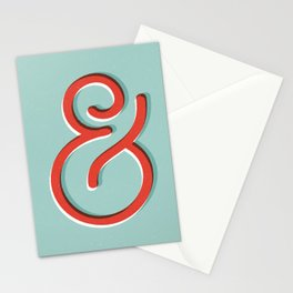 Ampersand red white and green and symbol typography design minimalist home decor wall decor Stationery Cards