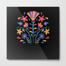 Otomi Style Floral Design Metal Print