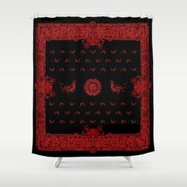 Black and Red Hobgoblin Bandana Shower Curtain