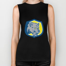 Angry Wolf Wild Dog Head Shield Retro Biker Tank