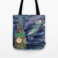 peter pan Tote Bags featuring Peter Pan by Kris-Tea Books