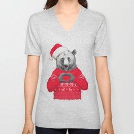 christmas bear Unisex V-Neck
