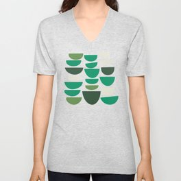 Geometric Bowls in Pink and Green Unisex V-Neck