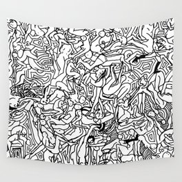 Lots of Bodies Doodle in Black and White Wall Tapestry