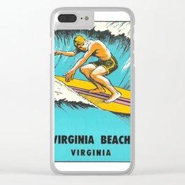 Virginia Beach Retro Vintage Surfer Clear iPhone Case