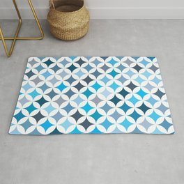 Geometric Star Pattern - Ocean #461 Rug