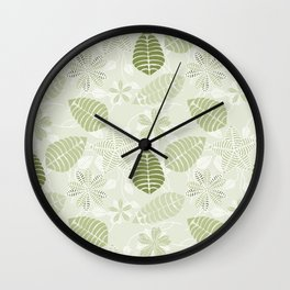 Olive Green Tropical Leaf Floral Pattern Wall Clock