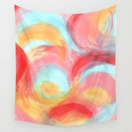 Pretty Pink and Blue Painted Rainbow Colours Wall Tapestry