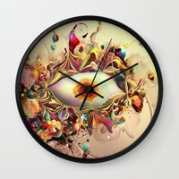 third eye Wall Clocks featuring Third Eye by Igor Šćekić