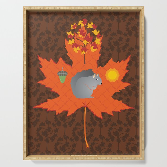 Grey Squirrel Autumn Pattern Serving Tray