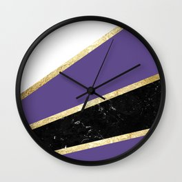 Ultra Violet, White, Black Marble and Gold Stripes Glam #1 #minimal #decor #art #society6 Wall Clock