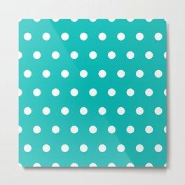 Dots on tiffany blue Metal Print