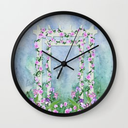 Garden Arbor with Pink and Lavender Flowers Wall Clock