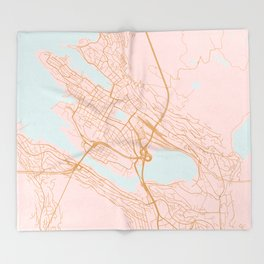 Bergen map, Norway Throw Blanket