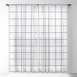 Grid Pattern White Navy Blue RGB68 Stripe Line Minimal Stripes Lines Spring Summer Sheer Curtain