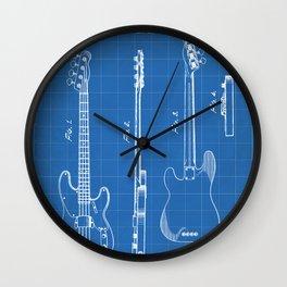 Bass Guitar Patent - Bass Guitarist Art - Blueprint Wall Clock