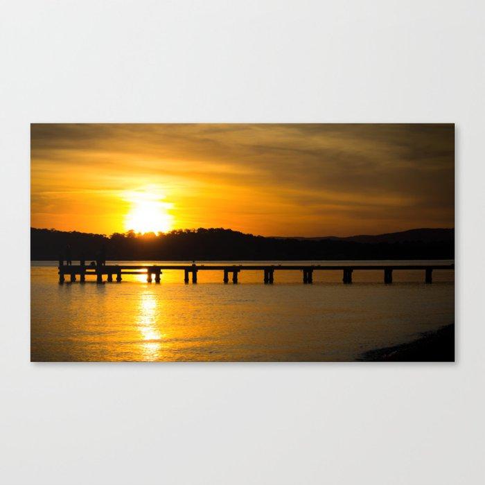 Belmont, Green Point, Australia Jetty at Sunset (Landscape) Canvas Print