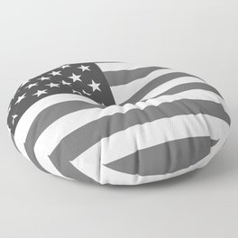 American flag in Gray scale Floor Pillow