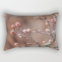 New Life -  Fresh Spring Buds after rain, Rose and earth tones, Nature Photography Macro Rectangular Pillow