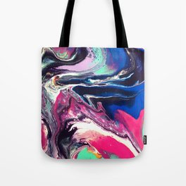 7 Layers of Midnight Acrylic Pour Tote Bag