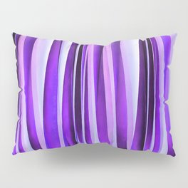 Luxurious Lilac, Purple and Silver Stripy Pattern Pillow Sham