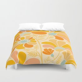 Sunny Flowers / Floral Illustration Duvet Cover