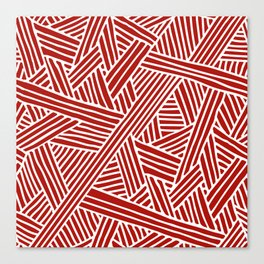 Abstract Navy Red & White Lines and Triangles Pattern Canvas Print