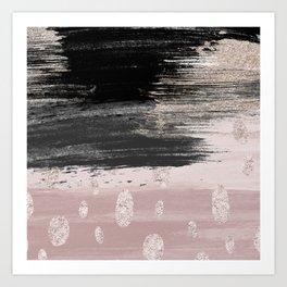 Abstract blush pink black gray gold glitter brushstrokes Art Print