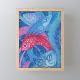 The Spawning, underwater art, pink & blue fish Framed Mini Art Print