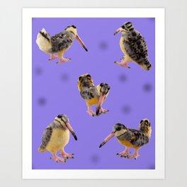 Purple Polka-Dotted Peents Art Print