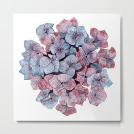 Purple Hydrangea Watercolor Metal Print