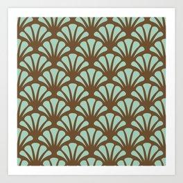 Brown and Mint Green Deco Fan Art Print