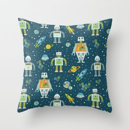 Robots in Space - Blue + Green Throw Pillow