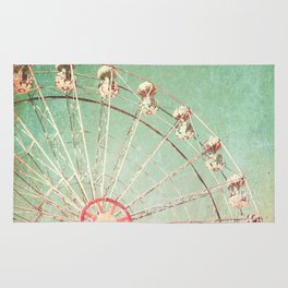 Ferris Wheel on Blue Textured Sky  Rug