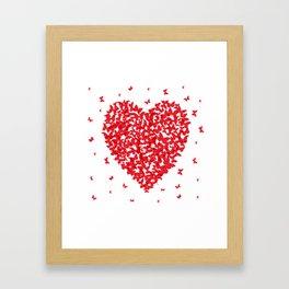 Heart - summer card design, red butterfly on white background Framed Art Print