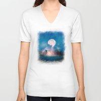 sun and moon V-neck T-shirts featuring Moon Above, Sun Below by Viviana Gonzalez