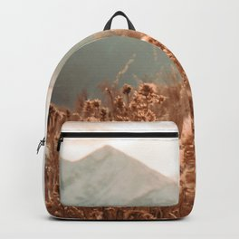 Golden Wheat Mountain // Yellow Heads of Grain Blurry Scenic Peak Backpack
